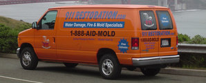 Water Damage and Mold Removal Van Going To Residential Job Site