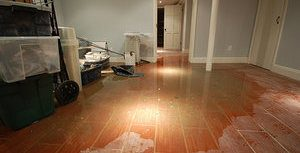 Rainwater Flooding A Living Room After A Hurricane